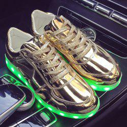 Patent Leather Led Luminous Athletic Shoes - GOLDEN