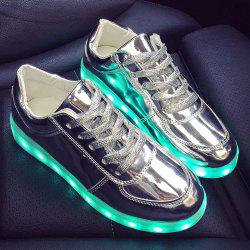 Patent Leather Led Luminous Athletic Shoes - SILVER