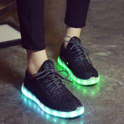 Led Luminous Mesh Athletic Shoes - BLACK