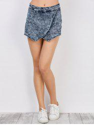 Asymmetrical Textured Denim Culottes Shorts - DEEP BLUE