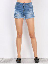 Frayed Denim High Rise Shorts with Pockets - DEEP BLUE