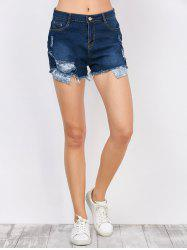 Broken Hole High Waist Jeans Shorts with Pockets - DEEP BLUE