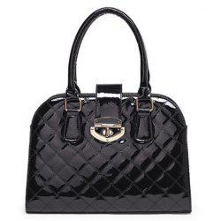 Quilted Metal Detail Patent Leather Handbag