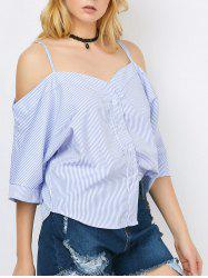 Spaghetti Strap Stripe Button Up Top