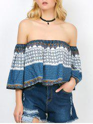 Off The Shoulder Print Short Top