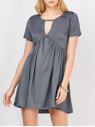 Loose Cutout Mini Smock Dress With Sleeves