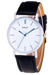 Faux Leather Strap Analog Watch - BLACK