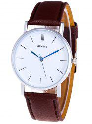 Faux Leather Strap Analog Watch - BROWN