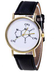 Faux Leather Chemical Formula Analog Watch
