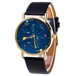 Faux Leather Constellation Analog Watch -