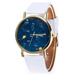 Faux Leather Constellation Analog Watch