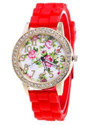Flower Pattern Silicone Strap Number Watch