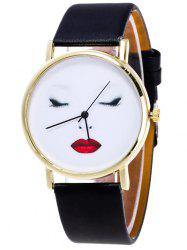 Beauty Face Faux Leather Analog Watch
