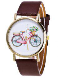 Motif Bike Cartoon Montre analogique - Brun