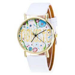 Faux Leather Cartoon Flower Analog Watch