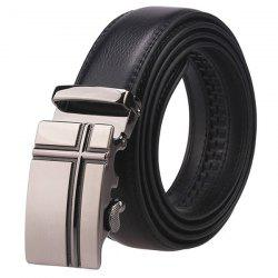 Cross Auto Buckle Faux Leather Belt - BLACK