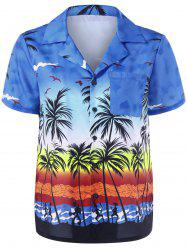 Notched Collar Palm Print Hawaiian Shirt