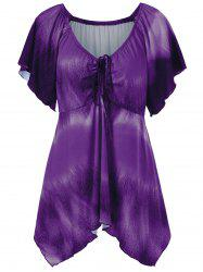 Plus Size Empire Waist Butterfly Sleeve Blouse - PURPLE