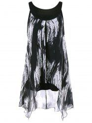 Asymmetrical Plus Size Extra Long Graphic Top - WHITE AND BLACK