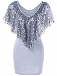 Sequined Trim Overlay Mini Dress - LIGHT GRAY