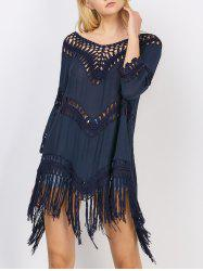 Asymmetrical Fringed Long Tunic Cover-Up
