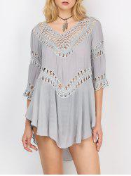 Asymmetrical Openwork Cover-Up - LIGHT GRAY