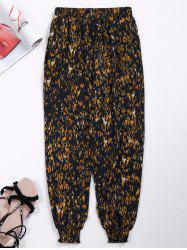 Elastic Waist Ornate Print Jogger Pants with Pockets