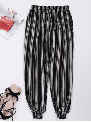Striped Cropped Jogger Pants with Pockets