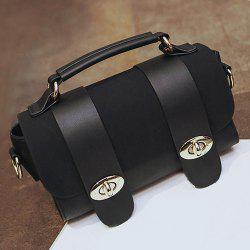 Metal and Strap Detail Faux Leather Handbag