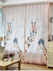Cartoon Giraffe Print Shading Window Curtain
