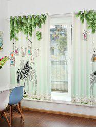Zebra Animal Screening Grommet Top Window Curtain