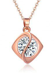 Faux Diamond Rhombus Pendant Necklace