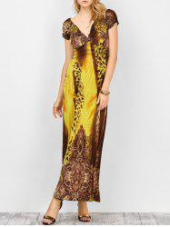 V Neck Empire Waist Leopard Print Maxi Prom Dress