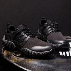 Stitching PU Leather Athletic Shoes - BLACK