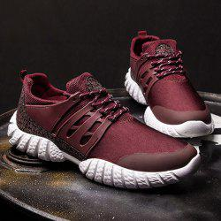 Stitching PU Leather Athletic Shoes - WINE RED