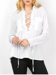 Semi Sheer Pockets Lace Up Blouse
