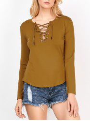 Lace Up Curved Hem Tee