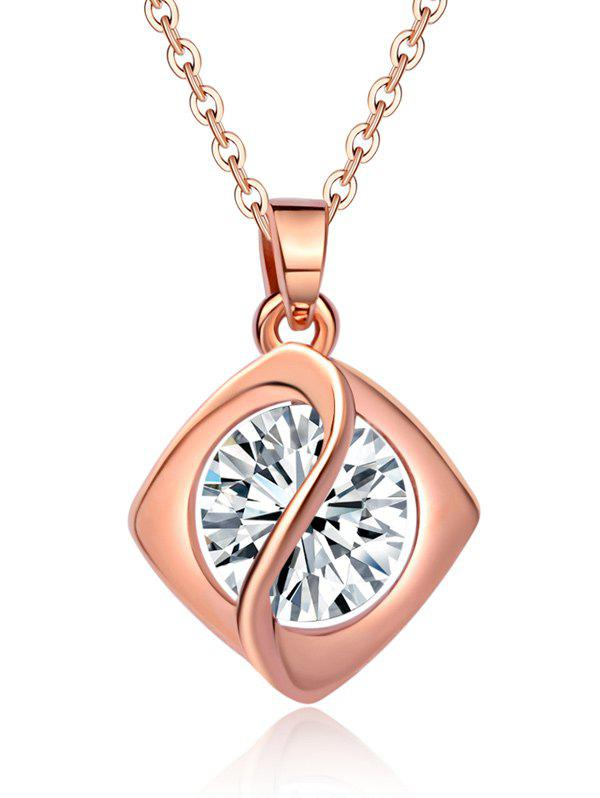 Faux Diamond Rhombus Pendant NecklaceJEWELRY<br><br>Color: ROSE GOLD; Item Type: Pendant Necklace; Gender: For Women; Necklace Type: Link Chain; Metal Type: Alloy; Style: Trendy; Shape/Pattern: Geometric; Weight: 0.0400kg; Package Contents: 1 x Necklace;