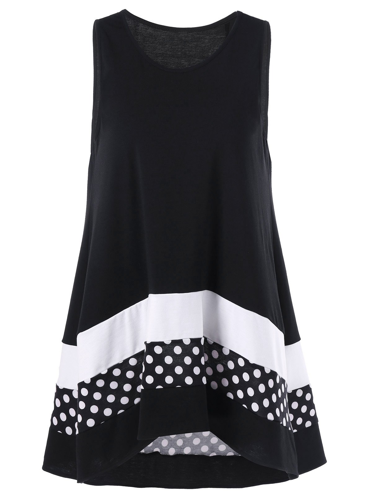 Plus Size Polka Dot Sleeveless Tunic TopWOMEN<br><br>Size: XL; Color: COLORMIX; Material: Polyester,Spandex; Shirt Length: Long; Sleeve Length: Sleeveless; Collar: Scoop Neck; Style: Casual; Season: Summer; Pattern Type: Polka Dot; Weight: 0.3200kg; Package Contents: 1 x Top;