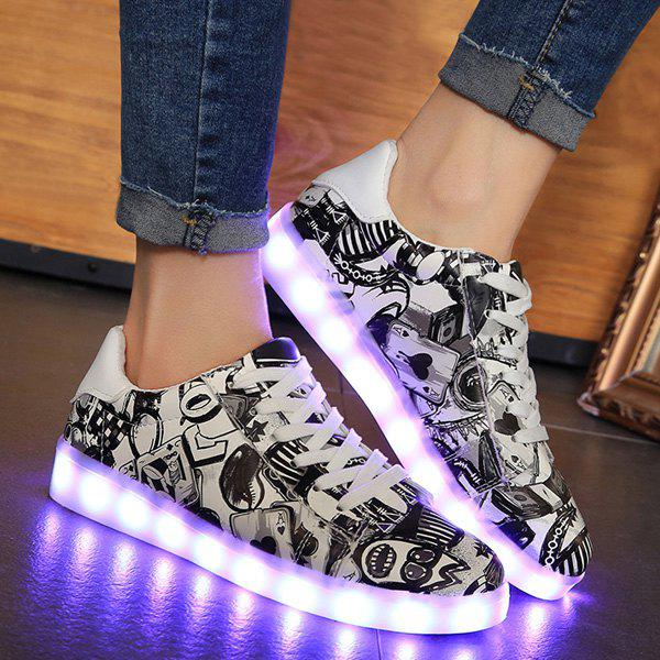 Fashion Colour Block Led Luminous Athletic Shoes