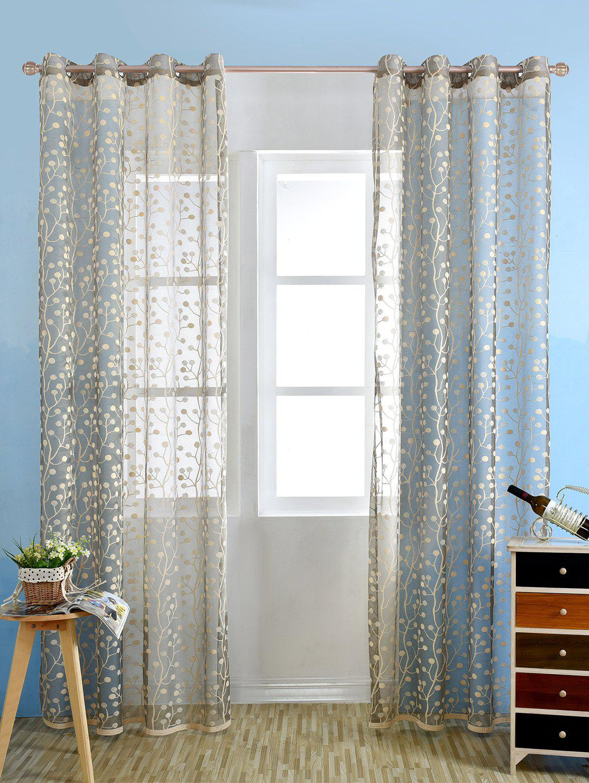 Griege Embroidered Sheer Tulle Fabric Window Curtain