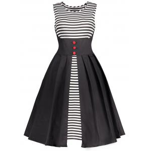 Stripe Panel Vintage Sleeveless Flare Dress