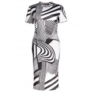 Striped Print High Neck Sheath Dress
