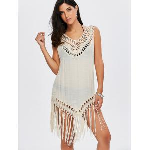 Longline Tassel Crochet Cover-Up - APRICOT ONE SIZE