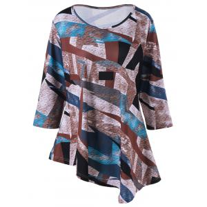 Plus Size Abstract Pattern Asymmetric T-Shirt