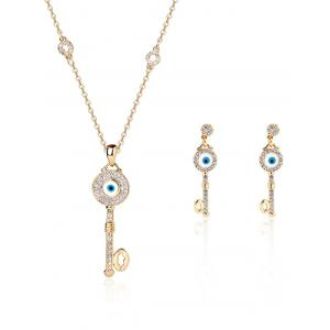 Key Rhinestone Evil Eye Jewelry Set - Golden - 8