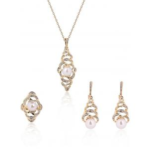 Faux Pearl Rhinestone Flower Jewelry Set