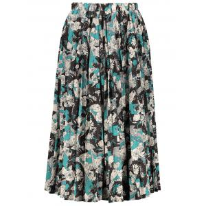 High Waisted Floral Print Pleated Midi Skirt