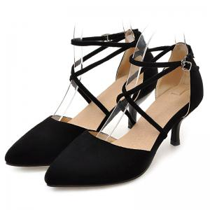 Cross Straps Suede Pumps - BLACK 38