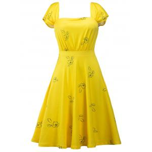 Printed Square Neck High Waist Skater Dress - Yellow - S